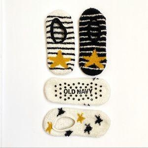Old navy fuzzy black white stripe Star ankle socks
